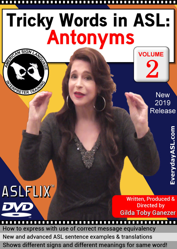 New DVD - Tricky Words in ASL: Antonyms, Vol. 2 with FREE S&H