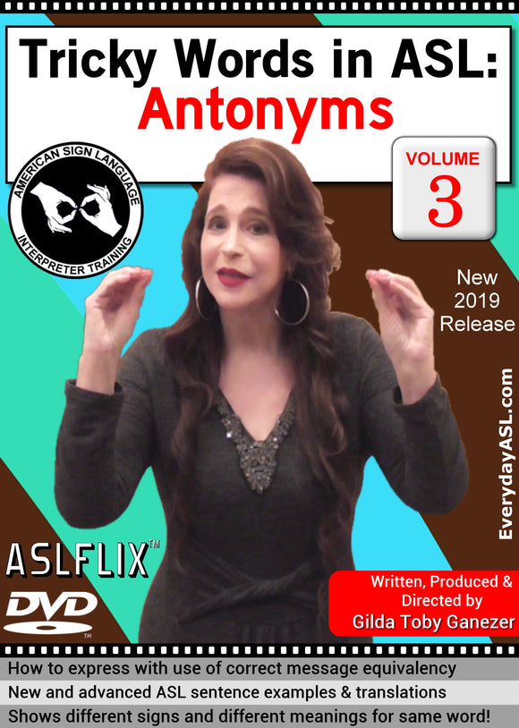New DVD - Tricky Words in ASL: Antonyms, Vol. 3 with FREE S&H