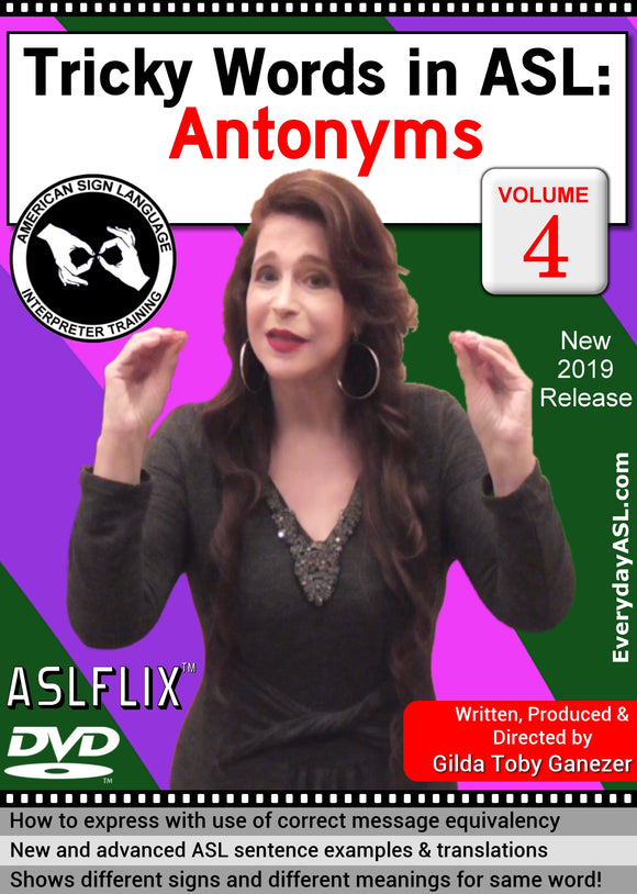 New DVD - Tricky Words in ASL: Antonyms, Vol. 4 with FREE S&H