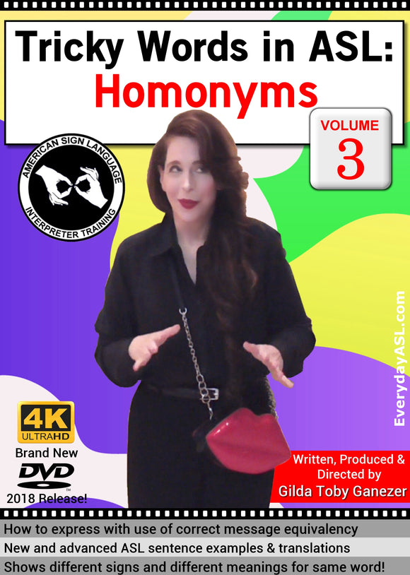 New DVD - Tricky Words in ASL: Homonyms, Vol. 3 with FREE S&H