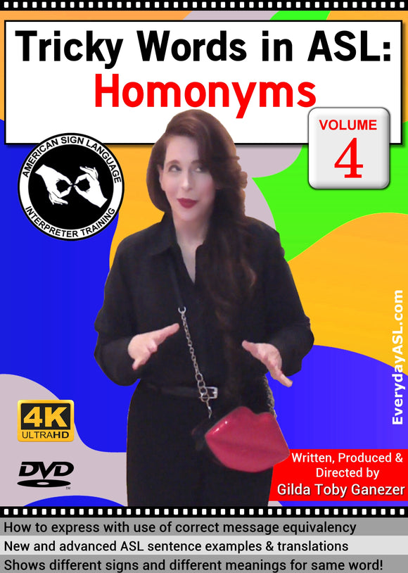 Tricky Words in ASL: Homonyms, Vol. 4 DVD with FREE S&H