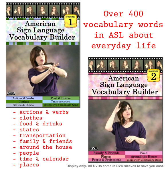ASL Vocabulary Builder, Vol. 1-2 (2 DVD Set) + FREE S&H