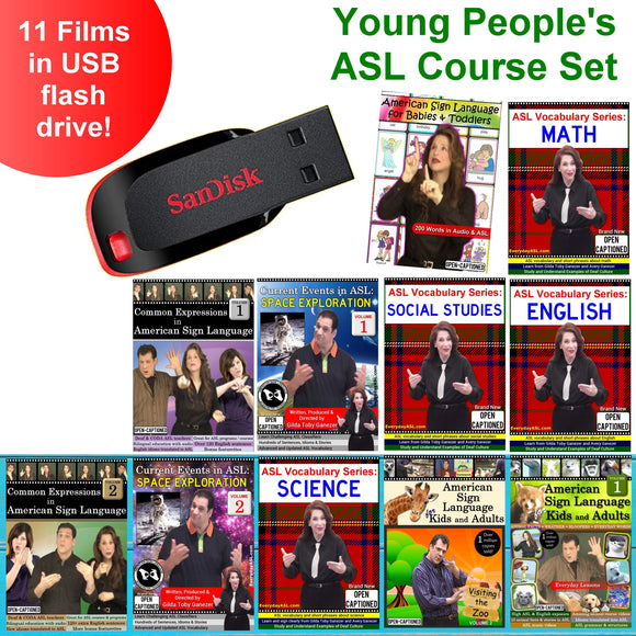 Young People ASL Course Set USB Flash Drive Stick FREE S&H