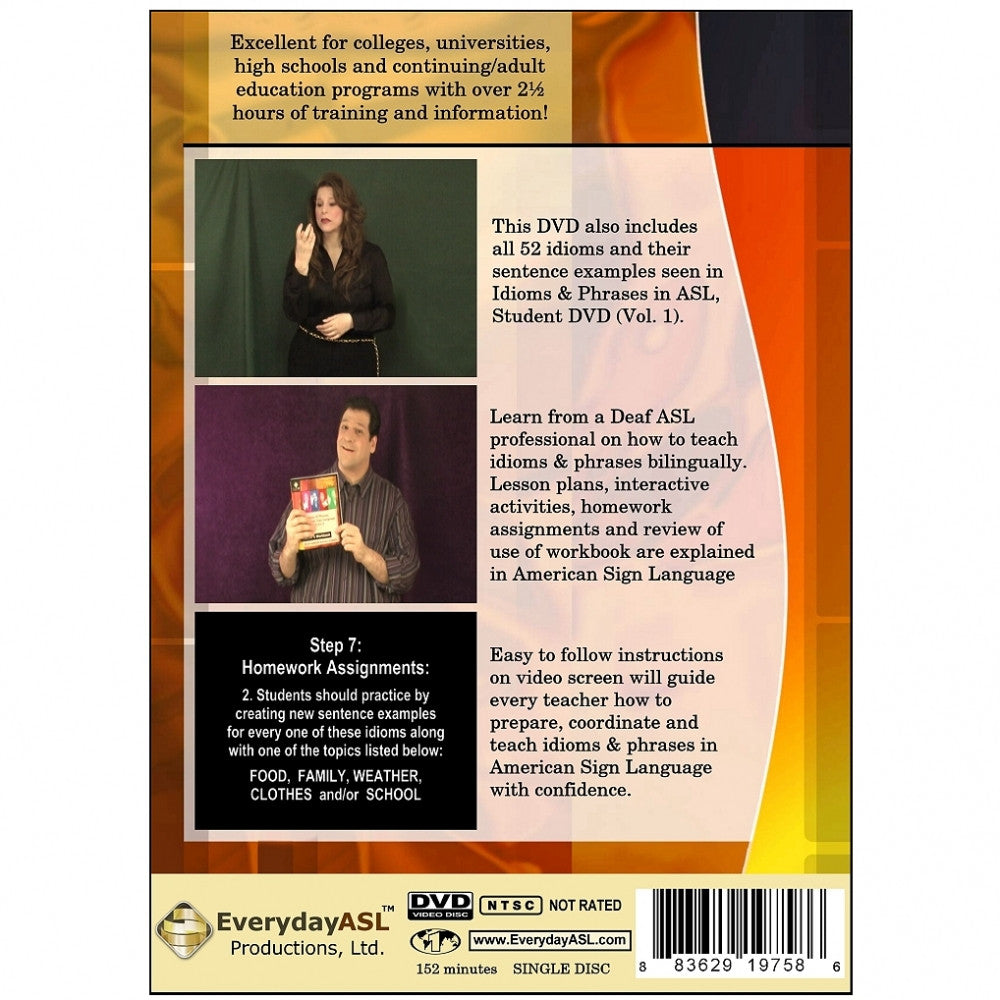 Idioms & Phrases in ASL, Vol  1: Teacher's Instructional DVD & Workbook Set  with free S&H