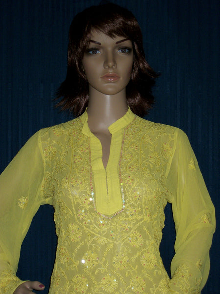 Blouse 0007 Georgette Lemon Yellow Hand Embroidered Medium Size Shieno