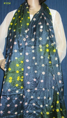 Scarf 1034 Dark Gray/Yellow Tie Dye Silk Dupatta Chunni Shawl