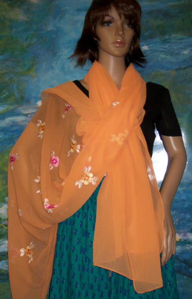 Scarf 1047 Orange Georgette Dupatta Chunni Shawl Shieno Sarees