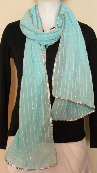 Scarf 104 Blue Georgette Self Stripes Sequined Dupatta Chunni Wrap Shieno Sarees