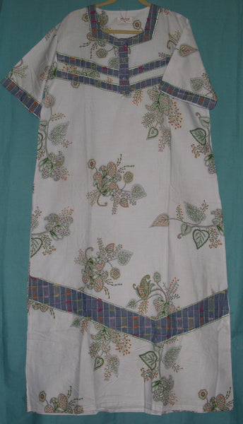 Maxi 1123 White Cotton Green Printed Gown Kaftan Jalabiya L Sleep Wear Shieno