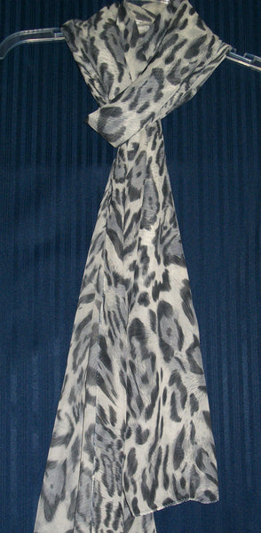 Scarf 1225 Gray Georgette Stole Wrap Gray Shades Chiffon