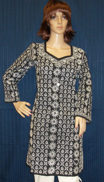 Blouse 012 Cotton Black Hand Embroidered Kurti Small Size Shieno