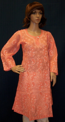 Blouse 014 Peach Cotton Flared Kalidar Tunic Kurti Shieno Sarees