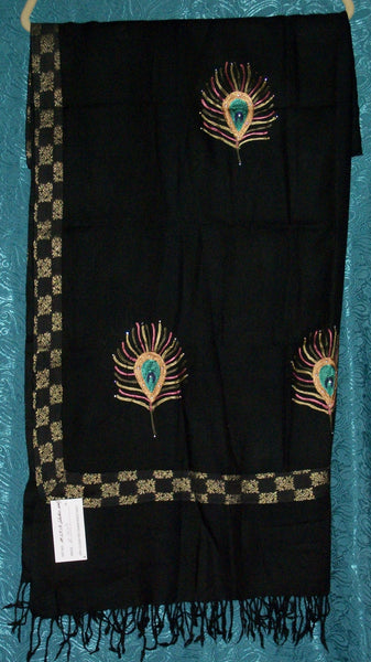 Shawl 1409 Black Winter Wrap Shawl Shieno Sarees