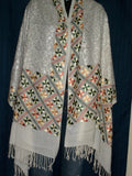 Wool Blend White Shawl/ Embroidered Shieno Pleasanton