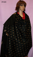 Shawl 1424 Black Wool Blend Golden Kashmiri Embroidered Shawl
