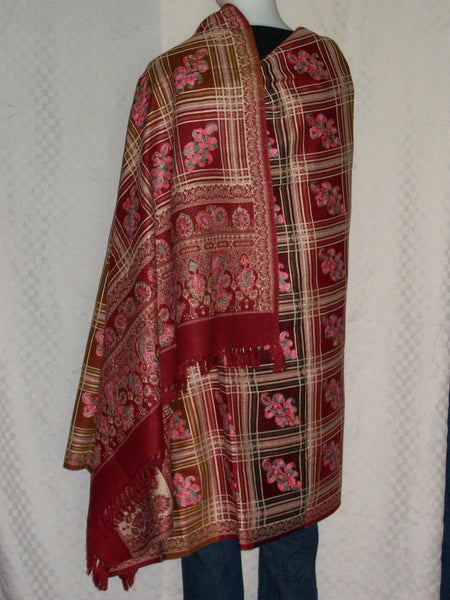 Shawl 1426 Red Wrap Woolen Shawl Shieno Sarees