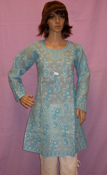 Blouse 015 Cotton Organdy Sky Blue Hand Embroidered Small Size Shieno