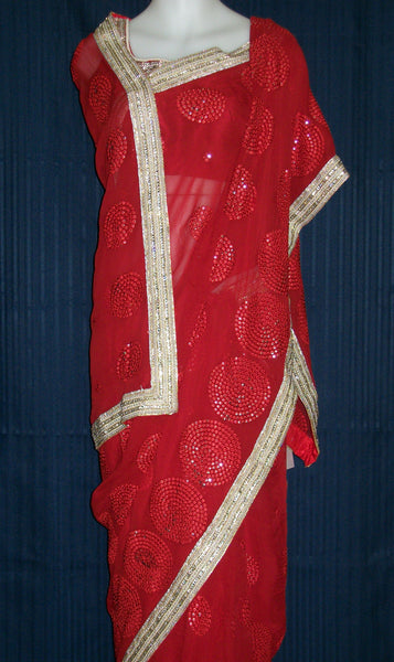 Saree 1540 Designer Bridal Saree in Red Chiffon for Wedding / Party