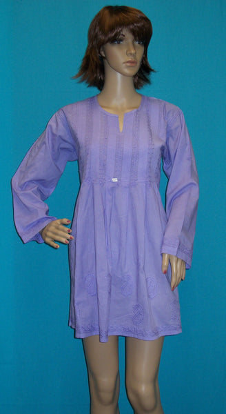Blouse 1667 Purple Cotton Embroidered (M) Tunic Top Shirt Kurti Shieno