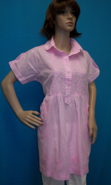 Blouse 1640 Pink Cotton Embroidered Large Size Tunic Top Kurti Shieno
