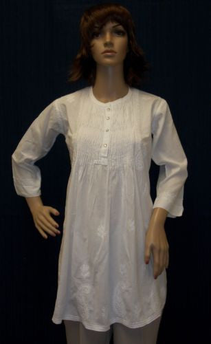 Blouse 1666 White Cotton Tunic Top Blouse Shirt Career Wear Shieno