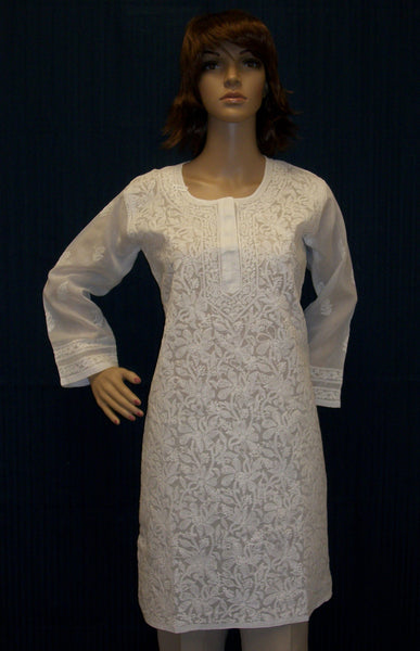 Blouse 1671 White Cotton Organdy Tunic Top (M) Shirt Kurti Shieno