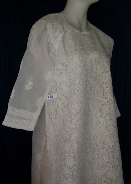 Blouse 1672 White Cotton Organdy Tunic Top Kurti (L) Shieno Sarees