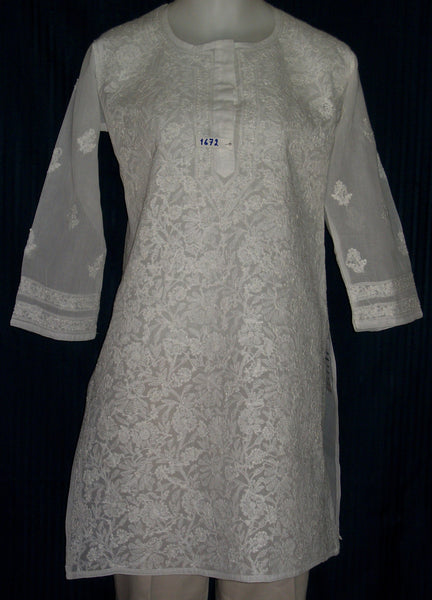 Blouse 1673 White Cotton Argandi Tunic Top Kurti (M) Shieno Sarees