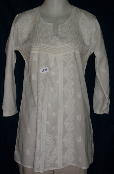 Blouse 1678 Kurti White Cotton Tunic Shieno Sarees Pleasanton