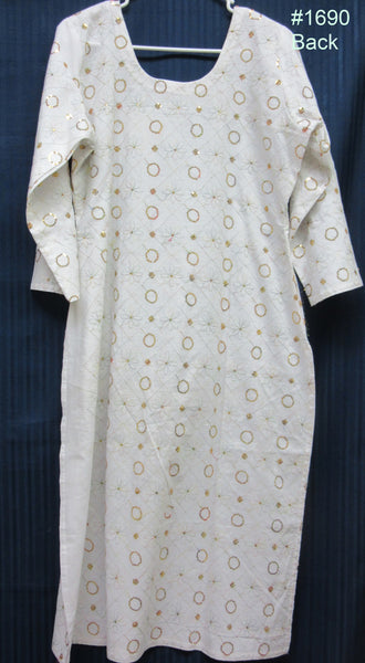 Kurti 1690 White Cotton Large Size Kameez Shieno