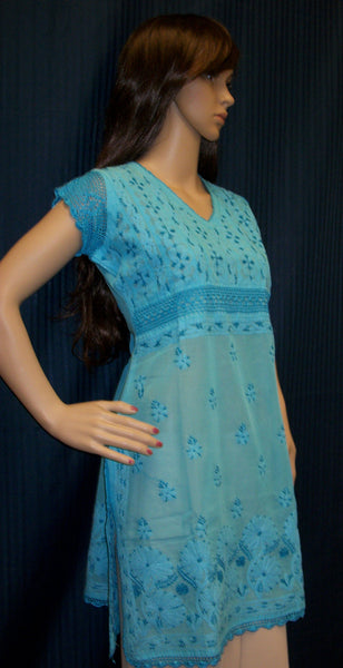Blouse 017 Cotton Turquoise Crochet Hand Embroidered Medium Size Shieno