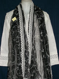 Scarf 1727 Black Net White Embroidered Scarf Dupatta Chunni Shieno