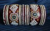Cuff Bangles 1771 Red Bridal Wear Bangles Shieno Sarees