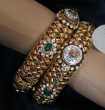 Bangles 1810 Golden Bangle Filigree Meenakari Kadra Bangle Shieno Sarees