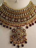 Necklace Set 1827 Polki Bdridal Polki Indian Ethnic Jewelry Set Shieno Sarees