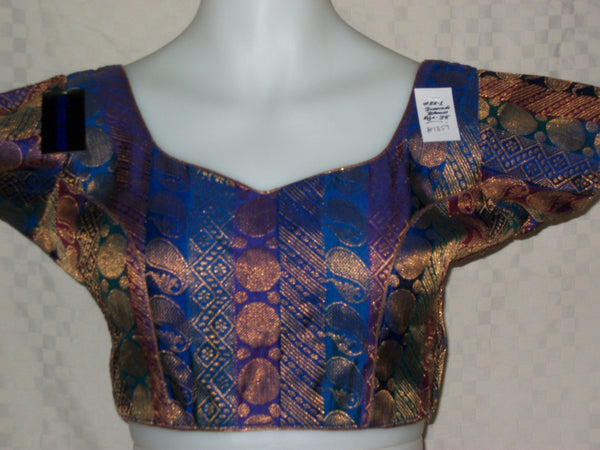 Saree Blouse Blue Brocade