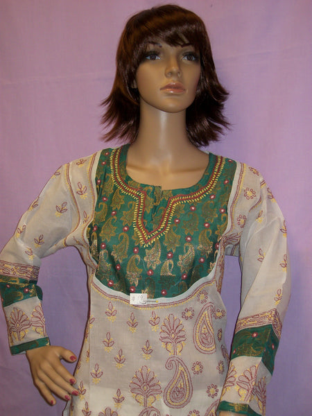 Blouse 019 Cotton White Hand Embroidered Medium Size Shieno