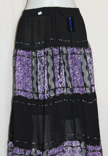 Skirt Black Georgette