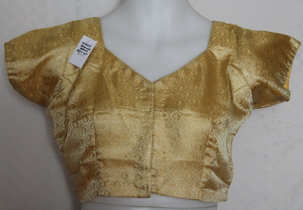 Choli 2084 Golden Brocade Medium Size Choli Saree Blouse