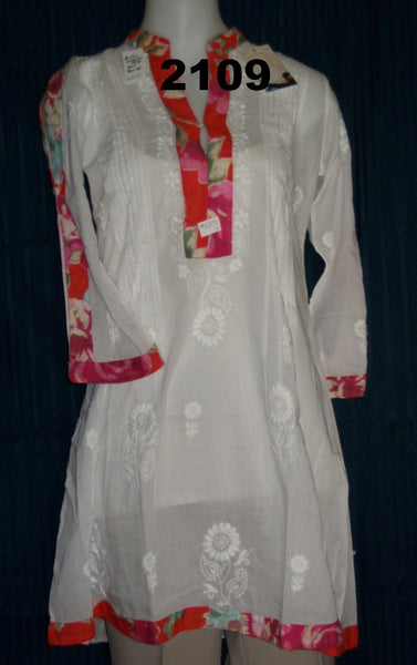 Blouse 2109 White Cotton Embroidered Kurti Tunic Top