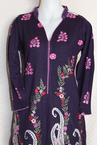 Blouse 2129 Purple Winter Wear Kurti Tunic Top