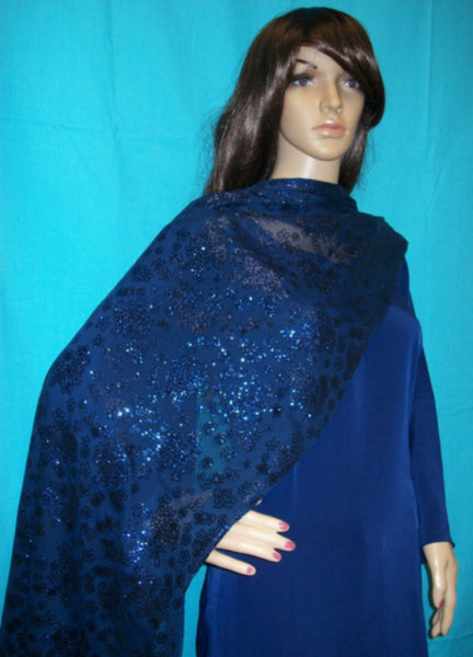 Scarf 2134 Blue Glitter Jersey Party Wear Dupatta Chunni Shawl Shieno Sarees