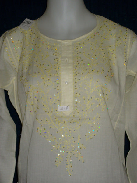 Kurti 2197 Lemon Cotton Voile Tunic Top Shirt Blouse Shieno Sarees