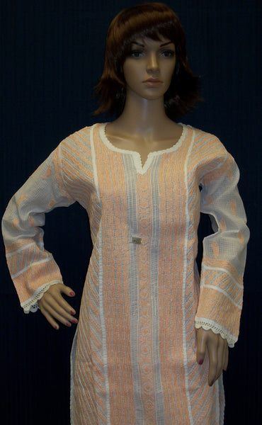 Blouse 023 Cotton White Hand Embroidered Medium Size Tunic Top Kurti Shieno