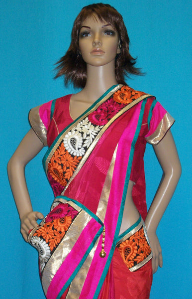 Saree 2380 Red Pink Georgette Wedding Party Wear Sari Saris Shieno Sarees