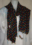 Scarf 2428 Black Multi Color Polka Dupatta Chunni Shawl Wrap Shieno
