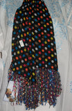 Scarf 2439 Black Multi Color Polka Dupatta Chunni Shawl Wrap Shieno