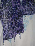 Scarf 2444 Purple Black Dupatta Chunni Shawl Wrap Shieno Sarees