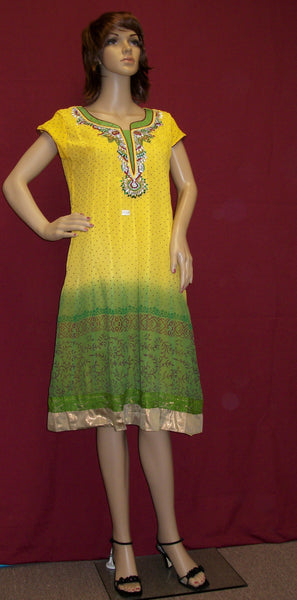 Blouse 2518 Yellow Green Georgette Tunic Top Blouse Shieno Sarees San Francisco