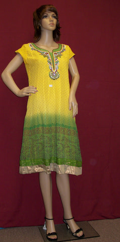 Blouse 2518 Yellow Green Georgette Tunic Top Blouse Shieno Sarees